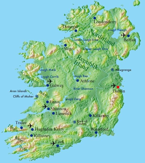 Irland Cliffs Of Moher Karte.Sehenswurdigkeiten Irland Karte Kleve Landkarte